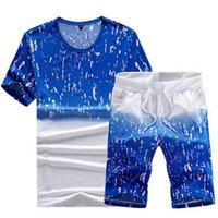 Yeni Yaz Seti Erkekler Nedensel Plaj Takım Elbise Kısa Kollu Şort 2 adet Moda Eşofman Erkekler Sporcular T Shirt + Şort Setleri