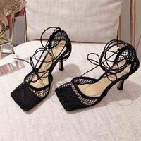 Mujeres de tacón alto zapatos de tacón superior diseñador mujer oficina fiesta zapato moda mujer malla sandalia de punta cuadrada con caja