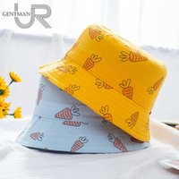 New Children's Bucket Hats Cartoon Carrot Printing 100% Cotton Soft Baby Kids Cute Hat Girls Boys Casual Multicolor Panama Cap
