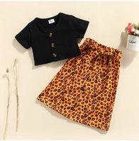 Girls Set Summer Kids Clothes Suit Children Solid Short Sleeve Tops Leopard Skirt Fashion Clothing