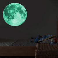 Etiqueta engomada luminosa de la pared 3D de la luna luminosa de 30 cm en las etiquetas engomadas de la pared oscura para la pared de la habitación