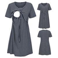 Maternity Dresses Sleepwear Womens O-neck Short Sleeve Striped Print Nursing Casual Dress For Breastfeeding Tops