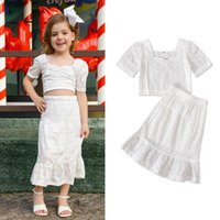 kids Clothing Sets girls outfits Children Lace Hollow Tops+skirts 2pcs set summer Boutique fashion baby clothes