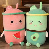 Kawaii Avocado Plush Toys Cute Boba Stuffed Pillow Fruit Tea Cup Cartoon Sleeping Pushine Toys Valentines Gifts For Kids Girls