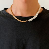 Pendant Necklaces Lacteo 2021 Fashion Trendy Twist Clavicle Chain Choker Necklace Jewelry For Men Neo Gothic Metal Imitation Pearls