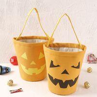 Fournitures de fête Halloween Candy Bucket Sacs en tissu de coton Portable bande dessin animé sac en gros