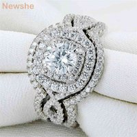 she 3Pcs 925 Sterling Silver Wedding Rings For Women 2.1Ct AAA CZ Engagement Ring Set Classic Jewelry Size 5-12 210610