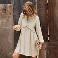 Casual Dresses Long Sleeved Mini Skirt Solid Color Women's Elegant Sexy A-line Dress Lace Tie Clothing Gown V-line