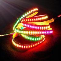 Striscia di LED RGB a colori variabile digitale 144LED / M 144IC / M IC integrata LUMINARIA LUZ LUZ Bianco / nero PCB WS2812 Strisce pixel