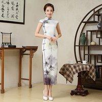 Silk Lady Элегантный Lotus Cheongsam Женщины Длинные Сексуальные Ципао Китайское Платье Китайский Древний Костюм Женское Платье 16003