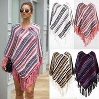Magliette da donna Sweater Sweatumn e Winter Tassel Cape Diagonal Stripe T-Shirt per le donne UB6E
