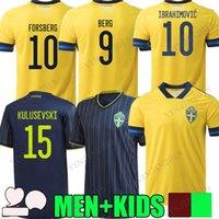 20 21 Suecia National Team Ibrahimovic Forsberg Hombres Jerseys de fútbol Larsson Ekdal ISAK 2021 2022 Versión del jugador CAMISETAS DE FÚTBOL DE FÚTBOL DE CAMISETE ADULTURE MANGULO CORTO MANQUEO DE NIÑOS
