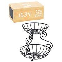 Otros relojes Accesorios 1 PCS Wood Digital Alarma Reloj Bluetooth Altavoz Bluetooth 2 Tier Fruit Cesta Estilo Vintage Storage