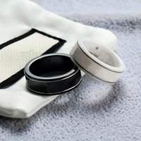 Black White Rim Couple Rings Simple Letter Ring Top Quality Ceramic Material Fashion Women and Man Gifts Jewelry Supply