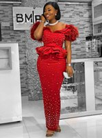 Luxury Beaded Bodice Red Prom Dresses with Feathers Off Shoulder Peplum Aso Ebi Evening Party Gowns Long Girls' Pageant Wear
