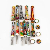 newSilicone Nectar nector Collector Mini Straw Water Pipes with Titanium Nail For smoking accessories Dab Rig Silicone bongs Pipe EWC6900