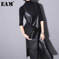 [EAM] Yeni Bahar Yaz Straplez Kolsuz Siyah PU Deri Gevşek Kısa Elbise Kadın Moda Gelgit Tüm Maç Jo287 210331
