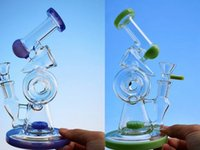 8 Inch Hookahs Unique Bongs Sidecar Design Glass Bong Double Recycler Dab Oil Rigs Slitted Donut Perc Water Pipes 14mm Female Joint With Bowl