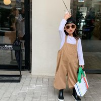 Jumpsuits Girls Overalls 2021 Autumn Kids Clothes Children Loose Casual Pants Baby Pocket Fashion Solid Trousers Toddler Cotton