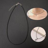 Bolsas de joyería, bolsas 10 unids Collar de cadena de cuero de cuero de cuero de seda negro de alta calidad con cierre de garra de langosta W89D