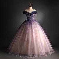 LUXURY 100% Real Pleated Breading Gradualmente cambiando Color Color Court Lungo Medieval Rinascimento Victoria Dress Ball Gown / Event