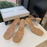 Giyu 2021 Clear Heels Slippers Women Sandals Summer Shoes Woman Transparent High Pumps Wedding Jelly Buty Damskie