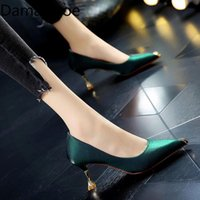 Dress Shoes High Heels For Women's Fashionable 2021 Spring French Painted Rhinestone Quality Stiletto Low-Cut