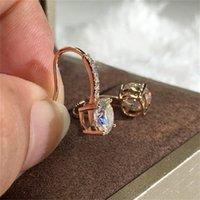 الأزياء جولة الزركون هوب أقراط مسمار للنساء الماس المرصح الذهب مطلي تتدلى المجوهرات الفاخرة الأم هدية
