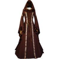 Partykleider Autumnspring Frauen Retro Vintage Langarm Mittelalterliche Renaissance Viktorianische A-Linie Y6 QR6E