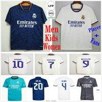 Фанаты Игрок 21 22 Реал Мадрид Футбол Джетки MBappe Alaba Benzema Опасность Asensio Modric Valverde Rodrgo Vini Jr. Пользовательские 2021 2022 футбол рубашка мужчины женщина детский комплект