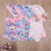 Kid Baby Girl 2Pcs Bikini Swimwear Swimsuit One-Piece Swimsuits Fish Scale Print Sleeveless Cap Swimming Bathing Suit One-Pieces