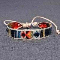 Pulseira pulseira brilhante étnica algodão folclórico e linho retro fand bordado bordado hippie amizade envoltório braceletes mulheres