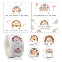 Hediye Paketi Mutlu Posta Yuvarlak Karikatür Sticker Sevimli Gökkuşağı Ticari Greet Card Teşekkürler Kağıt Dekore Çocuk Parti