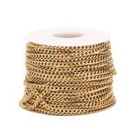 2 Meter Goldton 3mm Breite Bordsteinkette Edelstahl NK 1: 1 Kette für DIY Handgemachte Halskette Armbandherstellung