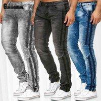 Erkekler Jeans Demin Pantolon Sonbahar Trendy Yeni Patchwork Erkek Seksi Jean Pantolon Ince Alt Sıska Pantolon Erkek Giyim Artı Boyutu