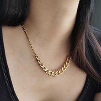 Moda elegante color de oro Stainlsteel Cubano Cuba de enlace Collar de cadena para hombres Mujeres Regalos de joyería 16 pulgadas Ajustable DDN235 Y0528