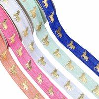 "5 8"" Gold foil Licorne unicorn FOE ribbon fold over elastic for hair ties garment cloth accessories welcome custom designs"