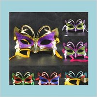 Party Masks Festive & Supplies Home Garden Butterfly Paintball Mask Gold Shining Plated Darth Vader Props Masquerade Mardi Gras 25Pcs