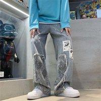 Men's Jeans Calças jeans largas masculinas, calças estilo vintage, urbanas, para homens, harajuku, casual, em linha reta, pernas largas, unissex, UKG5