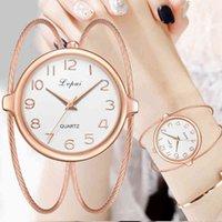 الساعات الفاخرة للرجال والنساء مصمم العلامة التجارية الساعات Pour Femmes، Montre-Bracelet Quartz، أو Rose، صغيرتي Marque Lvpai Exquise