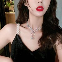 Pendant Necklaces Temperament Full Diamond Big Ring Pearl Necklace Female Lock Neck Chain Bone Fashion Band Simple Collar
