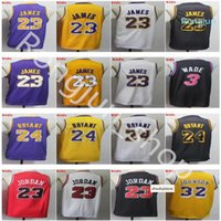 2021 Top Qualität Männer Jugend Kinder Basketball Lebron 23 James Dwyane 3 Wade 32 Johnson Trikots lila gelb weiß schwarz genäht