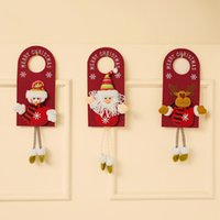 Merry Christmas Door Hanger Pendants Knob Xmas Non-woven Fabric Doors Handle Hangers Sign For Holiday Party Home Decor 50pcs Free DHL HH21-612