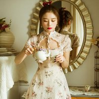 Chinese Style Summer Mini Womens Dresses Stand Collar Apricot Dot Floral Gorgeous Vintage Elegant Chiffon With Lining