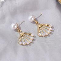 Dangle & Chandelier Earrings Women Korean Baroque Geometric Gan-shaped Pearl Stud Temperament Wild Cold Wind Hollow Personality Jewelry