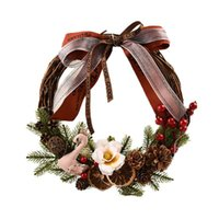 Decorative Flowers & Wreaths Realistic Xmas Swan Wreath Holiday Supplies Garland Hanging Pendant Party Festival Decoration Fall