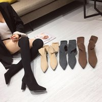 Autumn Elastic Fabric Solid Color Womens Over The Knee Sock Boots High Heels Knitting Pointed Toe Slim Botas Mujer Size 34-39