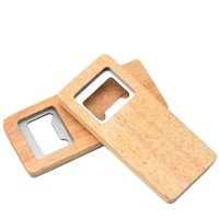 2021 Wood Beer Bottle Opener Stainless Steel With Square Wooden Handle Openers Bar Kitchen Accessories Party Gift