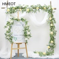 Decorative Flowers & Wreaths Artificial Garland With Rose 2M Hanging Rattan Eucalyptus Leaf Flower Wisteria Green Plants Vine Wedding Table