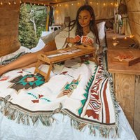 Blankets Tribal Outdoor Rugs Camping Picnic Blanket Boho Decorative Bed Plaid Sofa Mats Travel Rug Tassels Linen